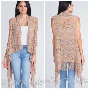 Taupe Knit Fringe Vest